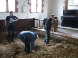 Walls of original church uncovered